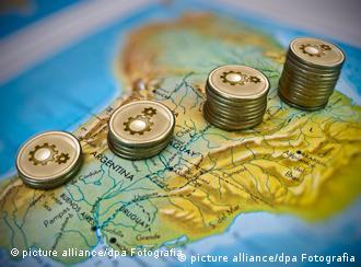 A photoillustration dated 18 June 2010 shows the growth in Latin America reported by the Economic Commission for Latin America and the Caribbean (ECLAC). ECLAC raises growth forecast to 4.5% in Latin America 2010. SIMON CHAVEZ/dpa