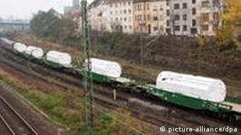 A train carrying 11 castor containers of nuclear waste