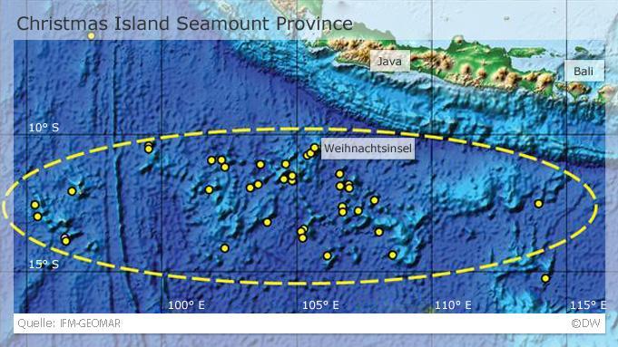 Eine Karte der Christmas Island Seamount Provinz. In gelb sind Arbeitsstationen der GEOMAR-Expediton von 2008 eingezeichnet (Grafik: IFM-GEOMAR)