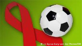 The AIDS ribbon and a soccer ball