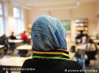 Woman wearing headscarve in school