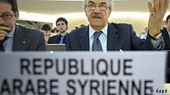 Faysal Khabbaz Hamoui Ambassador Extraordinary and Plenipotentiary Permanent Representative of Syrian Arab Republic to the United Nations Office at Geneva, delivers his statement during the Human Rights Council Special Session on the human rights situation in the Syrian Arab Republic at the European headquarters of the United Nations in Geneva, Switzerland, Friday, Dec. 2, 2011. (Foto:Keystone/Laurent Gillieron/AP/dapd)