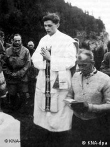 Joseph Cardinal Ratzinger, celebrating Mass in the mountains of Ruhpolding, southern Germany in 1952.