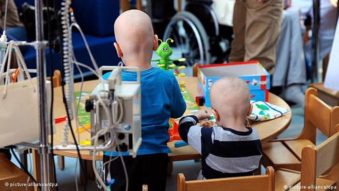 Two German children recovering from cancer treatment.