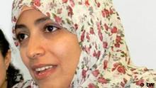 Friedensnobelpreisträgerin Tawakkul Karman aus dem Jemen, aufgenommen bei einem Pressegespräch in der Friedrich-Ebert-Stiftung am 7.12.2011. Autor: Bettina Marx