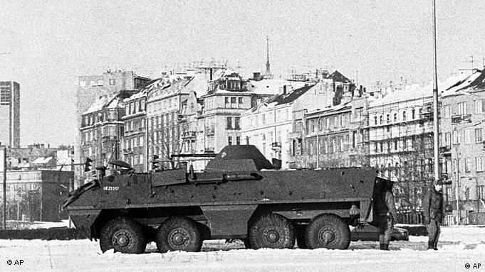 An armored Polish army vehicle is stationed in Warsaw on December 16, 1981