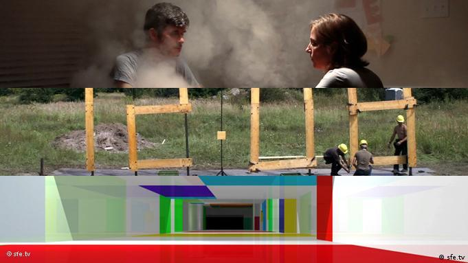 Three stills stacked vertically from films titled Whether, Standardtime and Zukünftige Erinnerung (Future Memory)