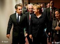 صدر اعظم آلمان و نیکلا سارکوزی، رئیس جمهور فرانسه در نشست بروکسل