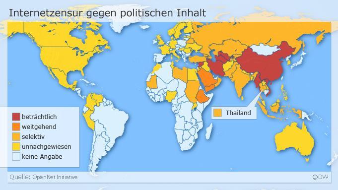 Infografik Internetzensur Welt und Thailand