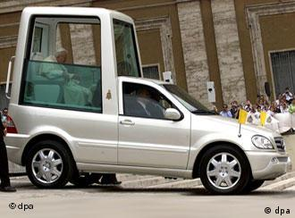 Pope Benedict XVI in his pope-mobile
