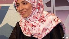 Bild von der jemenitischen Aktivistin und Friedensnobelpreisträgerin Tawakul karman im CMS. Das Bild hatA bdo Jamil Al-Mikhlafy gemacht am.08.12.2012. Ort Berlin, DW Studio, TV-Arabia.