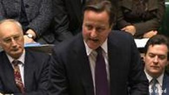 In this video image from the Parliamentary Recording Unit, Britain's Prime Minister David Cameron speaks in the House of Commons, London, Monday Dec. 12, 2011. David Cameron was the only leader among the 27 members of the European Union to refuse to support a plan last week which would see nations submit their budgets for central review and limit the deficits they can run. (Foto:AP/dapd) NO ARCHIVE