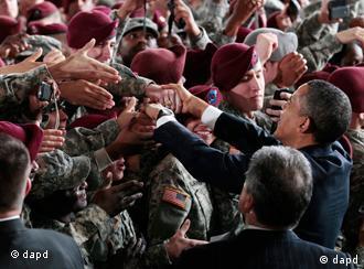 President Barack Obama greeting US troops