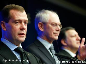 Medvedev, Van Rompuy and Barrosa in Brussels