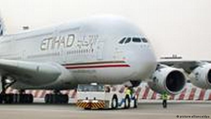 An Etihad Airbus at Abu Dhabi airport