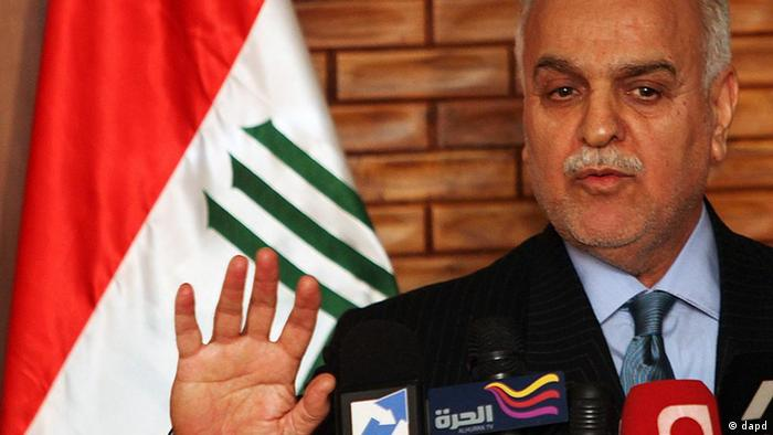 Iraq's vice President Tariq al-Hashemi speaks during a news conference in Baghdad