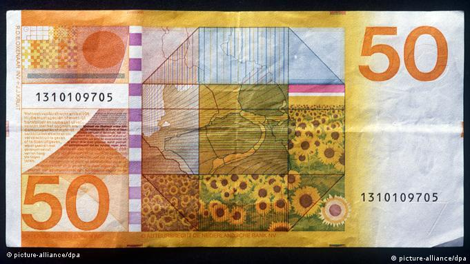Reverse side of Dutch guilder note with sunflowers