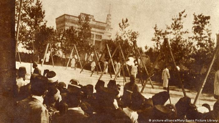 The public execution of four Armenians at Pera, close to the Golden Horn. The Armenian Genocide (Turkish: Ermeni Soyk�, also known as the Armenian Holocaust, the Armenian Massacres and, by Armenians, the Great Calamity - refers to the deliberate and systematic destruction (genocide) of the Armenian population of the Ottoman Empire during and just after World War I. It was characterised by the use of massacres, and the use of deportations involving forced marches under conditions designed to lead to the death of the deportees, with the total number of Armenian deaths generally held to have been between one and one-and-a-half million.Other ethnic groups were similarly attacked by the Empire during this period, including Assyrians and Greeks, and some scholars consider the events to be part of the same policy of extermination. It is widely acknowledged to have been one of the first modern, systematic genocides, as many Western sources point to the sheer scale of the death toll as evidence for a systematic, organized plan to eliminate the Armenians. The date of the onset of the genocide is conventionally held to be April 24, 1915, the day that Ottoman authorities arrested some 250 Armenian intellectuals and community leaders in Constantinople. Thereafter, the Ottoman military uprooted Armenians from their homes and forced them to march for hundreds of miles, depriving them of food and water, to the desert of what is now Syria. Massacres were indiscriminate of age or gender, with rape and other sexual abuse commonplace. Date: 1915 (Mary Evans Picture Library) Keine Weitergabe an Drittverwerter.
