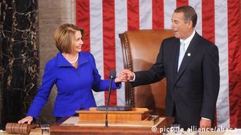Former Speaker of the House Nancy Pelosi congratulates Speaker of the House-designate Rep. John Boehner (R-OH) on the floor of the House chamber after a roll call votes on the election of the next Speaker January 5, 2011 in Washington, DC. The 112th U.S. Congress will be sworn-in today, with Republican legislators taking control of the House of Representatives and expected to begin attempts to dismantle portions of U.S. President Barack Obama's legislative agenda. Photo by Olivier Douliery/ ABACAUSA.com