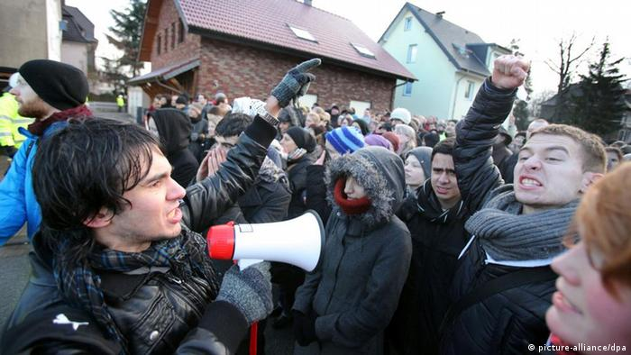 Left-wing protesters in Bielefeld