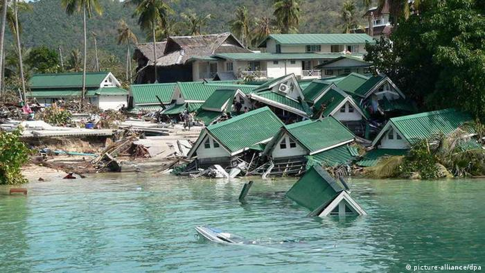 Houses destroyed in the 2004 tsunami