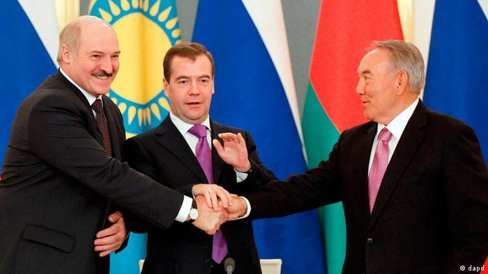Alexander Lukashenko, Dmitry Medvedev and Nursultan Nazarbayev