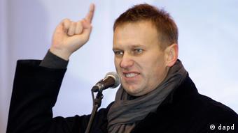 Blogger Nawalny auf einer Demo in Moskau gegen Wahlfälschungen, Dezember 2011