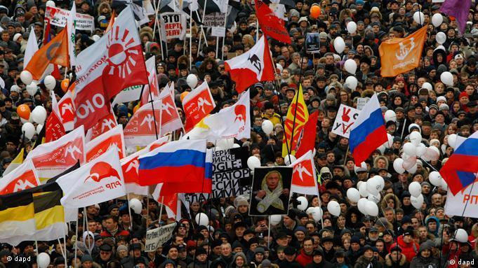Demo Für faire Wahlen am 24.12.2011 in Moskau (Foto: AP/dapd)