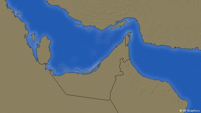 Karte Persischer Golf mit Straße von Hormuz (AP Graphics)