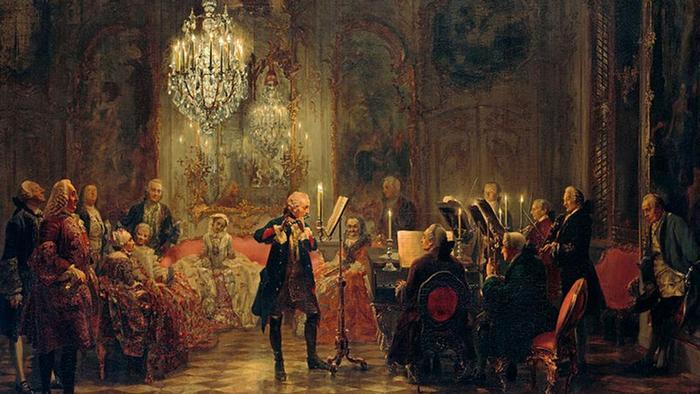 Концерт для флейты Фридриха Великого в Сан-Суси. Картина Адольфа фон Менцеля (Adolph von Menzel) 1852 года
