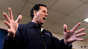 Republican presidential candidate former Pennsylvania Sen. Rick Santorum speaks at a town hall meeting at Redman's Pizza in Osceola, Iowa, Monday, Dec. 19, 2011. (AP Photo/Charlie Riedel)
