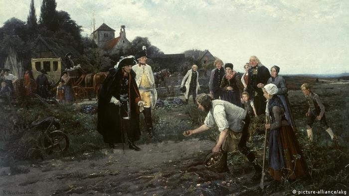 Frederick the Great / Warthmueller Frederick II (the Great), King of Prussia (1740-86), 1712-1786. - 'The King is everywhere'. - (Potato harvest in Darrmietzel, north of Kuestrin). Painting 1888 by Robert Warthmueller (1859-1895). Oil on canvas, 105 x 182cm (picture-alliance/akg)