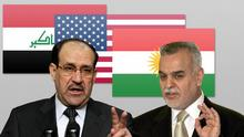Symbolbild Combo Flaggen Irak, USA, Kurden-Irak und der irakische Ministerpräsident Nouri al-Maliki  und irakische Vize Tarek Al-Haschimi DW-Grafik: Olof Pock Datum: 29.12.2011