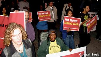Demonstrators calling for an end to the War on Drugs march in Los Angeles