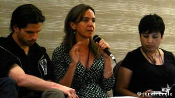El Paso City Councillor Susie Byrd (center) speaks at a panel on Mexican-US solidarity at the International Drug Policy Reform Conference in Los Angeles