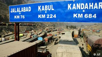 Afghanistan-bound trucks carrying supplies for NATO forces (AP Photo/Qazi Rauf)
