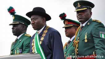 Nigerian president Goodluck Jonathan, second from left