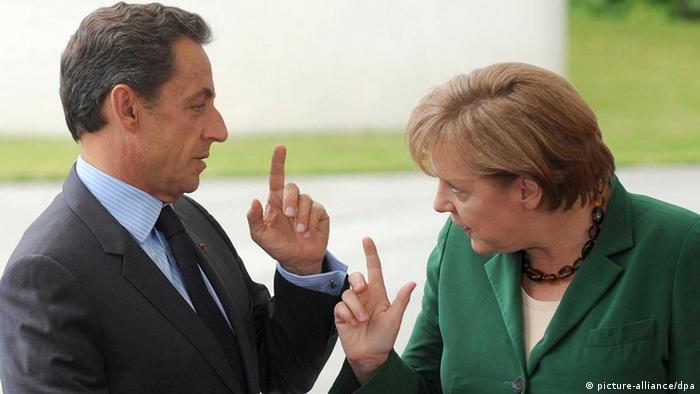 آنگلا مرکل، صدر اعظم آلمان، و نیکولا سارکوزی، رئیس جمهوری فرانسه