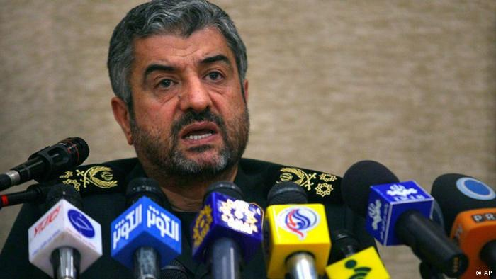 The chief of the Iran's Revolutionary Guard, Gen. Mohammad Ali Jafari, talks during a conference commemorating Iranian government officials who have been assassinated after 1979 Islamic Revolution, in Tehran, Iran, Tuesday, Sept. 6, 2011. (AP Photo/Vahid Salemi)