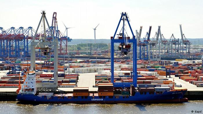 Containers and cranes in the port of Hamburg