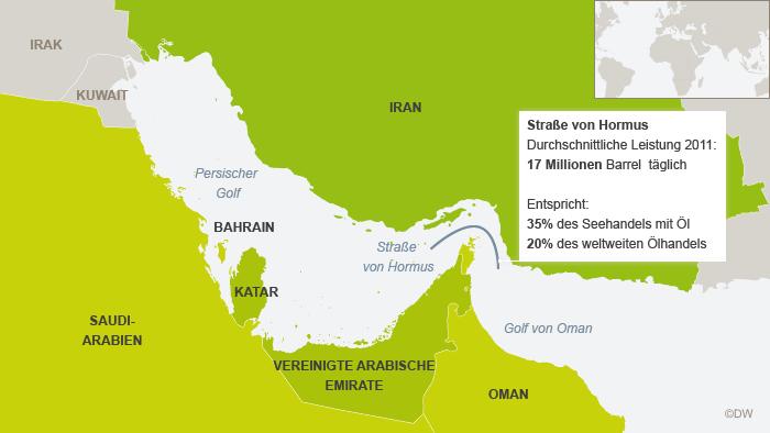 Karte der Straße von Hormus (DW-Grafik: Peter Steinmetz)