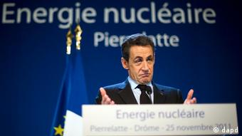 French President Nicolas Sarkozy delivers a speech at the nuclear electricity production center of Tricastin, November 25, 2011 in Pierrelatte, southern France.