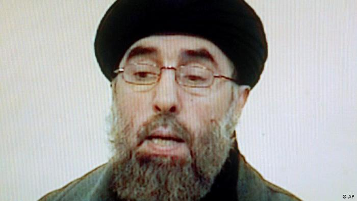 FILE - In this March 8, 2007 file photo, Afghan rebel leader Gulbuddin Hekmatyar is seen in this photo grab from a video received by Associated Press Television in Karachi, Pakistan. More than seven years ago during an operation against Hezb-e-Islami Gulbuddin, the insurgent group headed by Hekmatyar, a suspected Afghan militant was brought to a dimly lit CIA compound northeast of the Kabul airport called the Salt Pit. His name was Gul Rahman, and he died in the Salt Pit on Nov. 20, 2002. (AP Photo/Mohammad Khalil, File)
