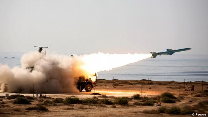 An Iranian long-range shore-to-sea missile called Qader (Capable) is launched during Velayat-90 war game on Sea of Oman's shore near the Strait of Hormuz in southern Iran January 2, 2012. REUTERS/Jamejamonline/Ebrahim Norouzi/Handout (IRA - Tags: POLITICS MILITARY TPX IMAGES OF THE DAY) FOR EDITORIAL USE ONLY. NOT FOR SALE FOR MARKETING OR ADVERTISING CAMPAIGNS. THIS IMAGE HAS BEEN SUPPLIED BY A THIRD PARTY. IT IS DISTRIBUTED, EXACTLY AS RECEIVED BY REUTERS, AS A SERVICE TO CLIENTS