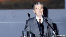 ***ACHTUNG: Das Bild darf ausschließlich im Rahmen einer Berichterstattung (über den Tod des ersten mazedonischen Präsidenten Kiro Gligorov) genutzt werden***Historischen Bilder anlässlich des Todes des ersten mazedonischen Präsidenten Kiro Gligorov: Präsident Gligorov wirbt für das Referendum 1991; Copyright: Dnevnik