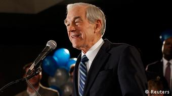 Republican presidential candidate, Congressman Ron Paul speaks at his 2012 Iowa Caucus night rally in Ankeny, Iowa, January 3, 2012. REUTERS/Joshua Lott (UNITED STATES - Tags: POLITICS ELECTIONS)