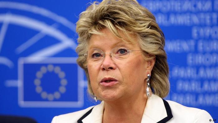 Viviane Reding at press conference