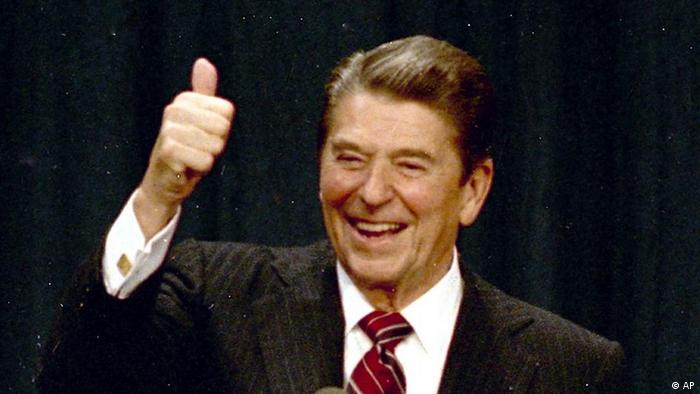 Ronald Reagan gives a thumbs up (AP)