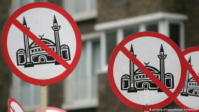 Anti-mosque placards