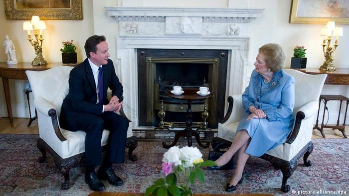 Former UK Prime Ministers David Cameron and Margaret Thatcher